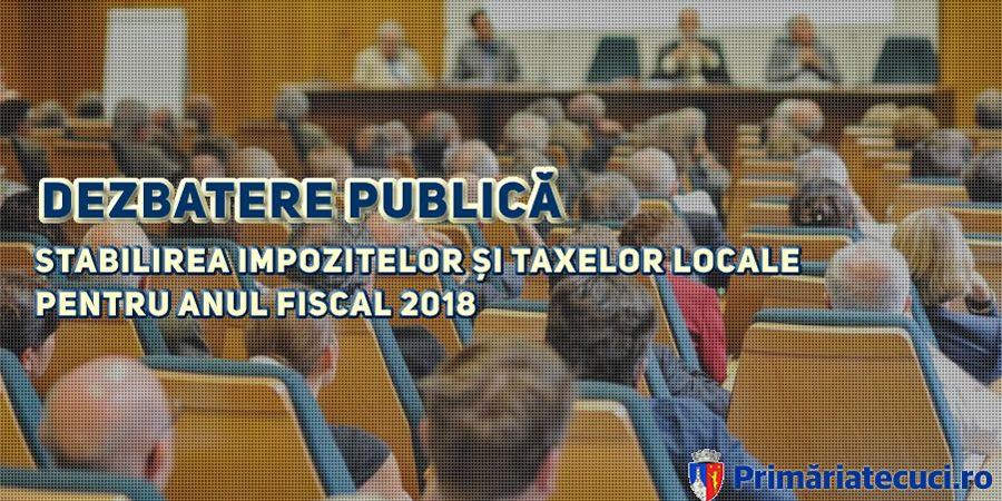Stabilirea impozitelor și taxelor locale pentru anul fiscal 2018