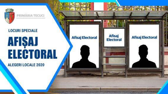 Locuri speciale afisaj electoral Tecuci 2020